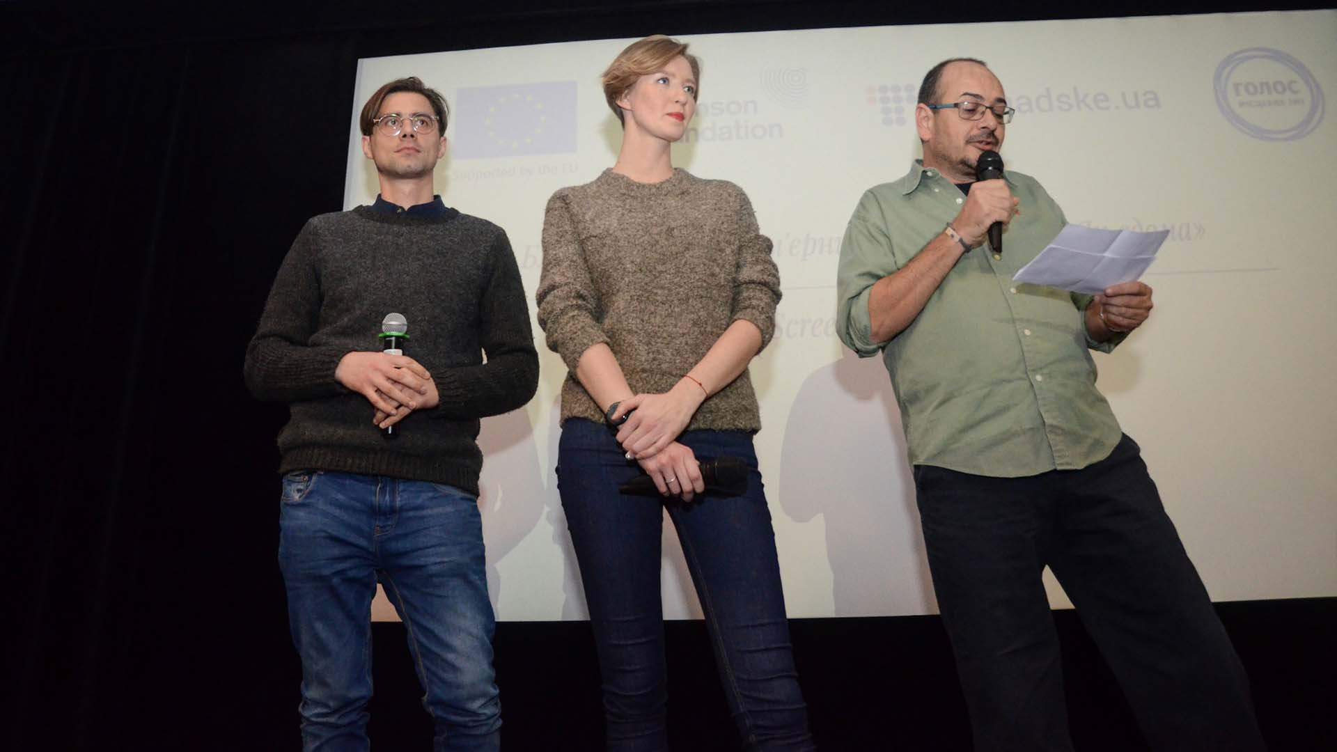 Producers of the the film (left to right), Oleksandr Nazarovof and Angelina Karyakina of Hromadske, and David Hands of Thomson Foundation